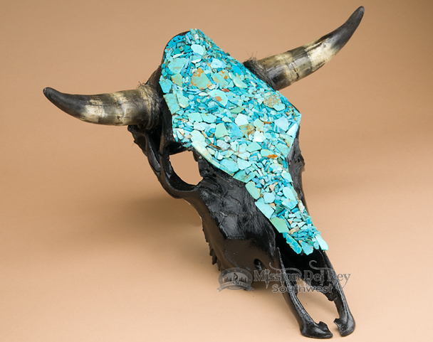 Black Painted Skull - Turquoise Overlay