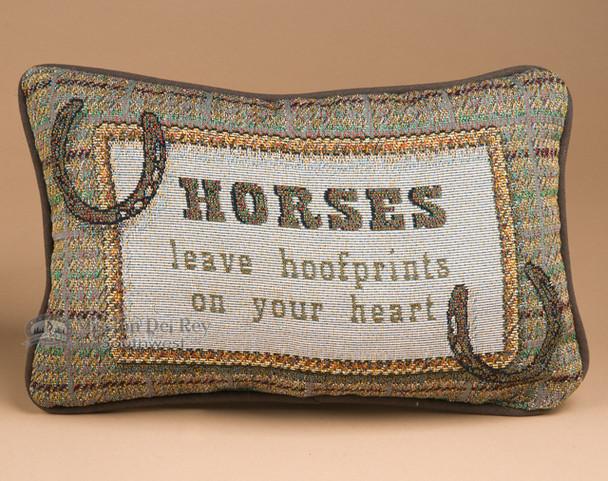 """Western Horse Sense Pillow 12.5""""x8.5"""" -Hoofprints"""