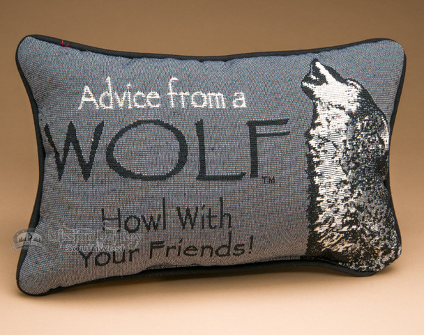 Rustic Word of Advice Pillow 12x8 -Wolf