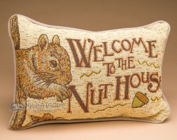 Rustic Wildlife Welcome Pillow 12x8 -Squirrel