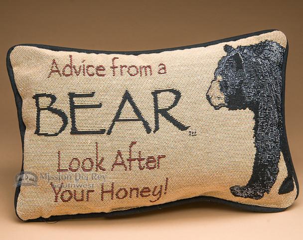Rustic Word of Advice Pillow 12x8 -Bear