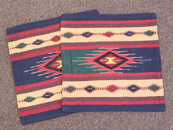 Southwestern pair of handwoven pillow covers with an Indian style design.