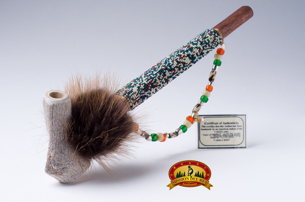 Beaded Antler Peace Pipe - Creek