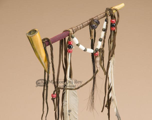 Navajo Draped Peace Pipe - Red