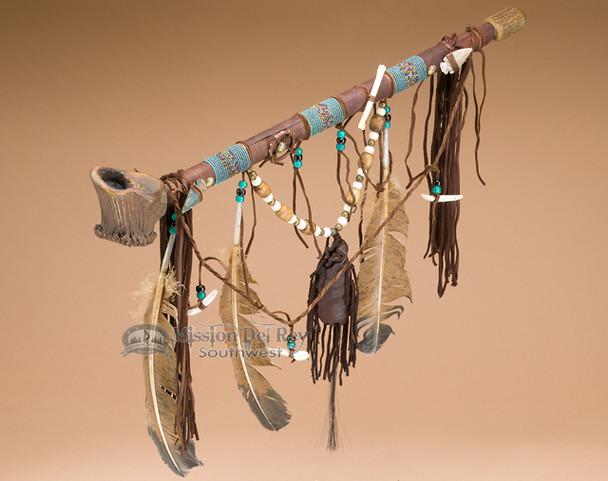 Native American Navajo Beaded Antler Pipe