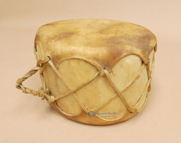 Native Cowhide Log Drum With Natural Leather