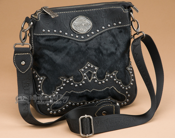 Western Faux Cowhide Messenger Bag Purse