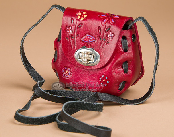 Mini Hand Stitched Leather Purse -Red