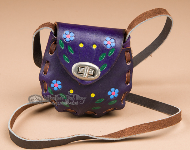 Genuine Cowhide Mini Leather Purse -purple