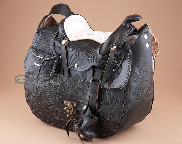 Western Black Leather Saddle Purse