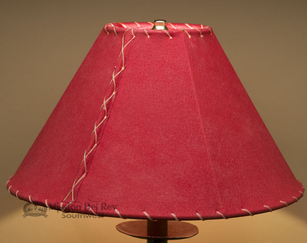 """Western Leather Lamp Shade - 14"""" Red Pig Skin"""