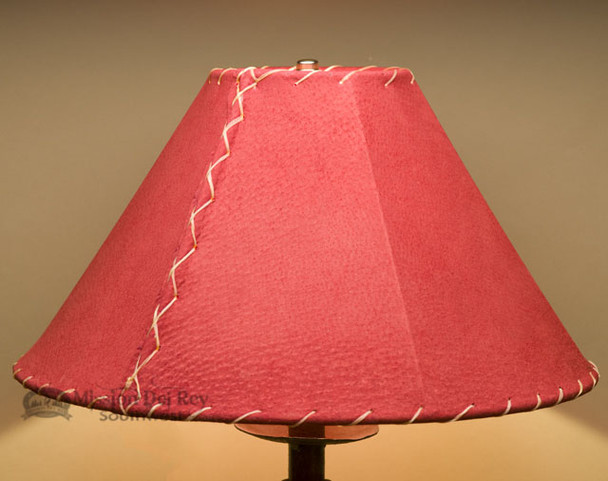"""Western Leather Lamp Shade - 16"""" Red Pig Skin"""