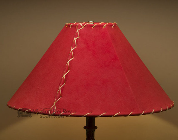 """Western Leather Lamp Shade - 18"""" Red Pig Skin"""