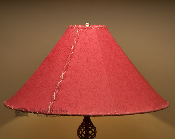 """Western Leather Lamp Shade - 22"""" Red Pig Skin"""