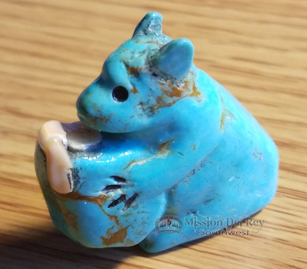 Hand Carved Stone Fetish -Turquoise Bear