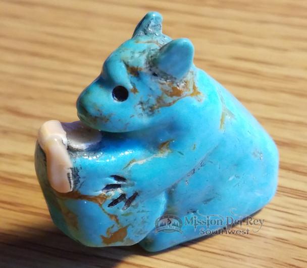 Hand Carved Stone Fetish -Turquoise Bear