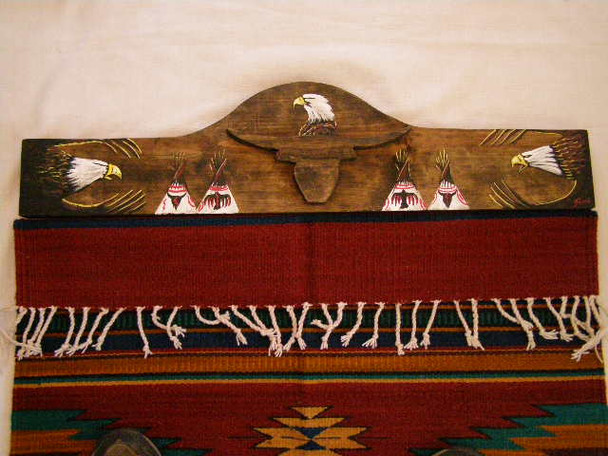 Painted Rug Hanger - Longhorn with Indian Village