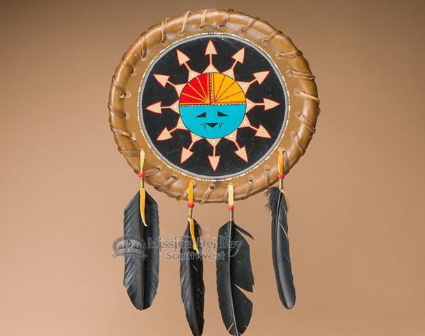 "Native American Rawhide Shield 11.5"" -Sun Face (S15)"