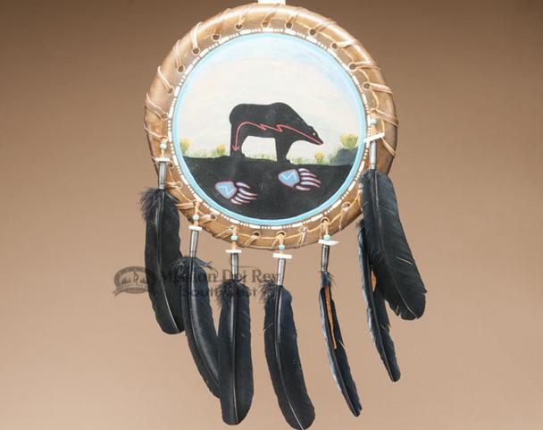 Hand Painted Navajo Rawhide Shield - Bear