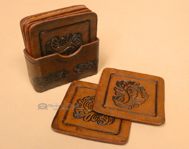 Hand tooled leather coasters - set of 8 - square.