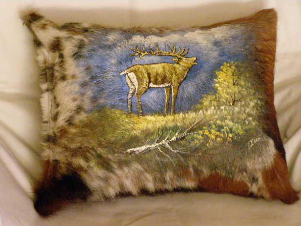 Painted Cowhide Pillow 12x18 - Elk