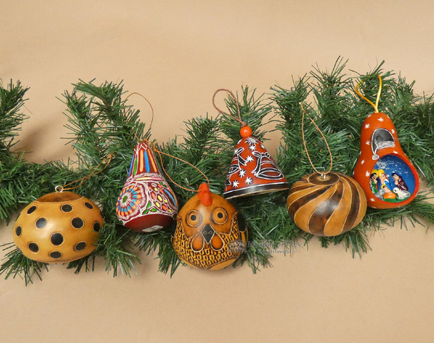 Andean Gourd Ornament Set - 6 Piece