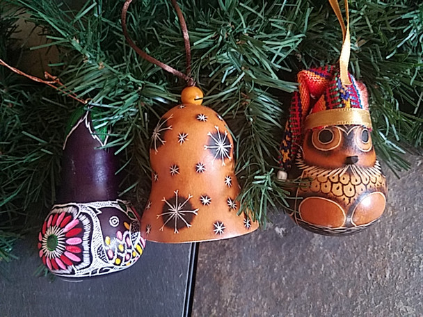 Christmas Gourd Ornaments - 3 Piece Set