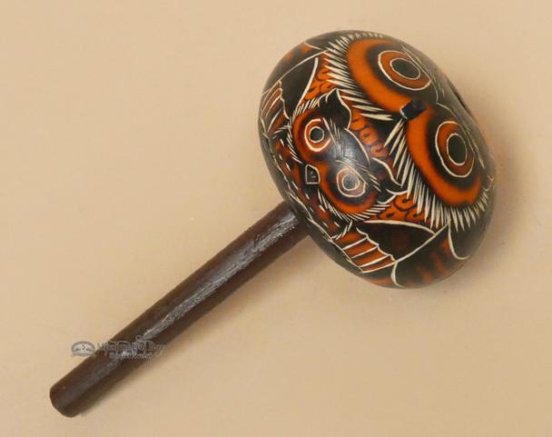 Andean Gourd Rattle - Orange Owl