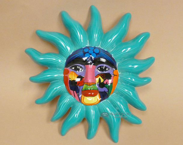"Hand Painted Oaxaca Ceramic Sun 12"""
