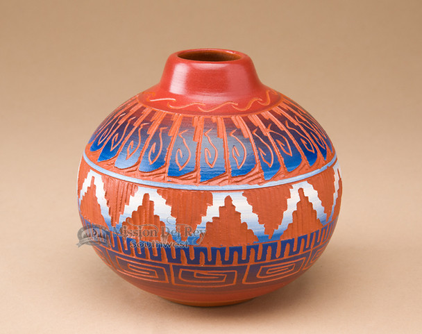 "Navajo Indian Clay Pottery Vase 5"" (45)"