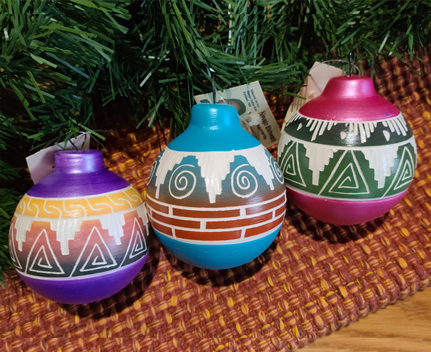 Navajo Painted Pottery Christmas Ornaments -3 Set
