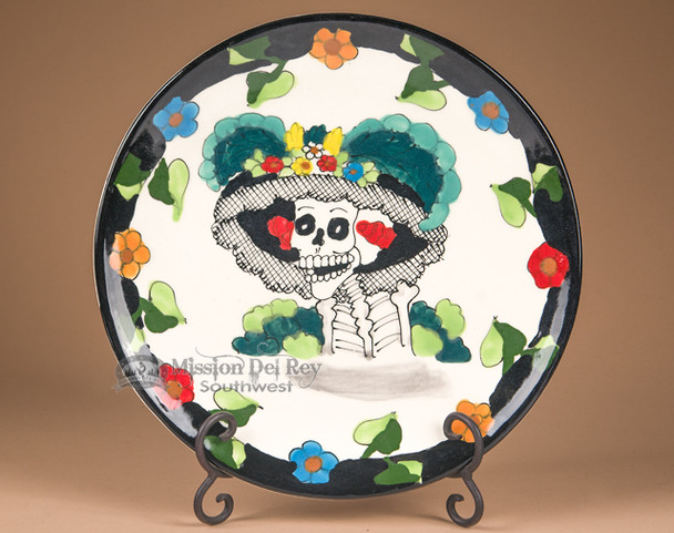 Painted Ceramic Day of the Dead Plate