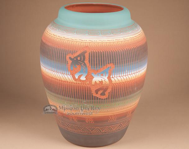 """Navajo Indian Pottery Vase 13"""" -Kokopellis (T25)"""