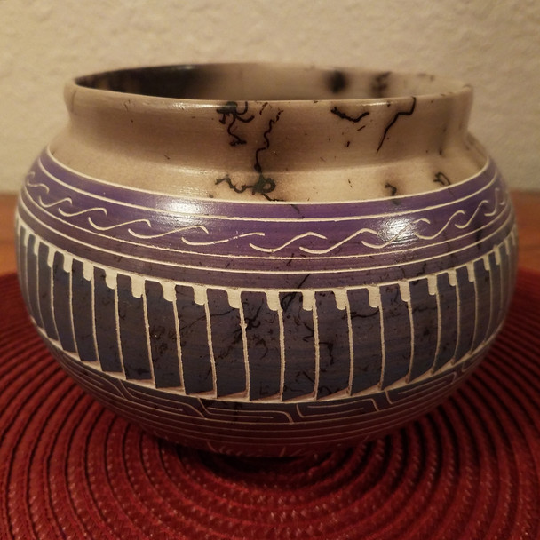 Horsehair Rainbow Etched Pottery Vase