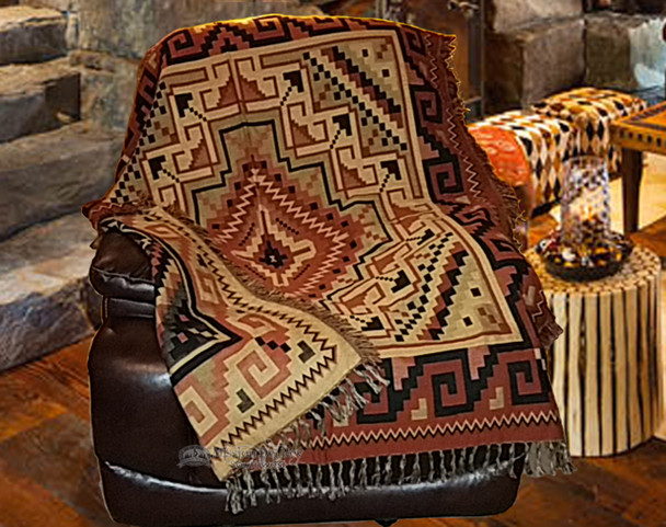 Classic Southwestern Navajo Rust Accent Throw