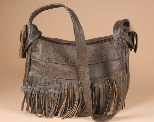 Brown Southwestern Style Fringed Leather Purse