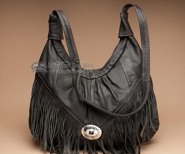 Dark Brown Southwestern Leather Purse