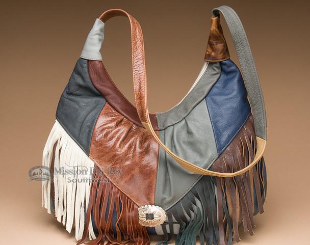 Fringed Leather Southwest Concho Purse