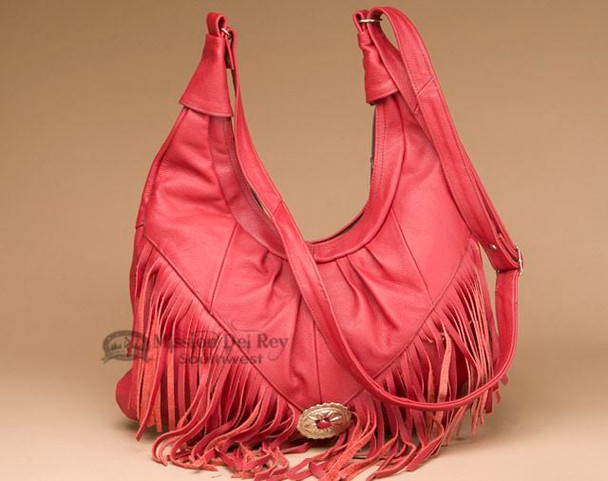 Western Fringed Leather Concho Purse