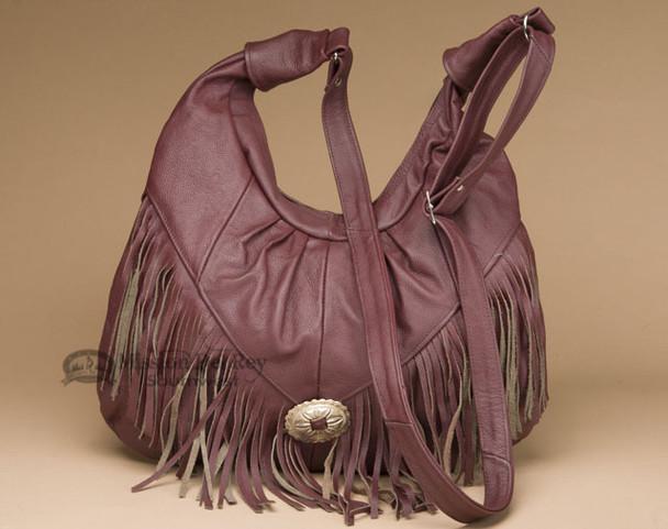 Southwestern Leather Concho Purse - Brick Red