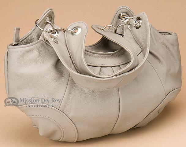 Grey Southwestern Leather Pouch Purse