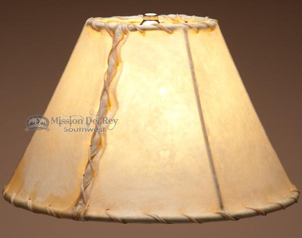 "Rustic southwestern light rawhide lamp shade. 12"""