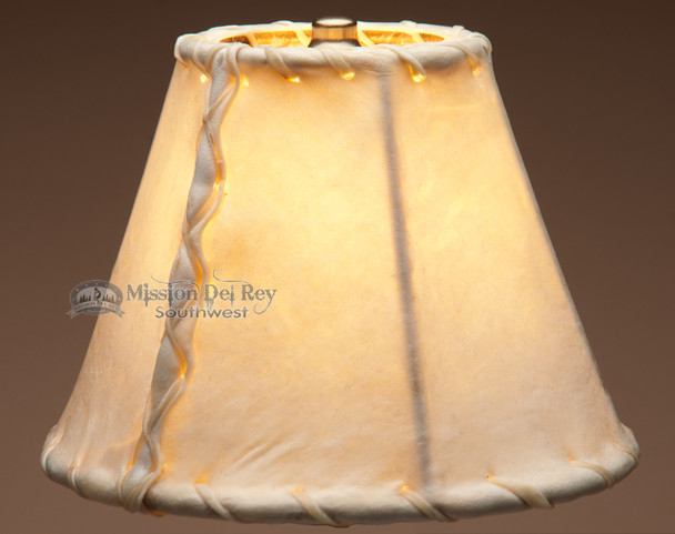 "Rawhide lamp shade - southwestern 8""."
