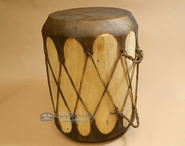 Rustic log drum with smooth rawhide