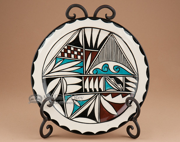 Hand Painted Tigua Plate with Stand