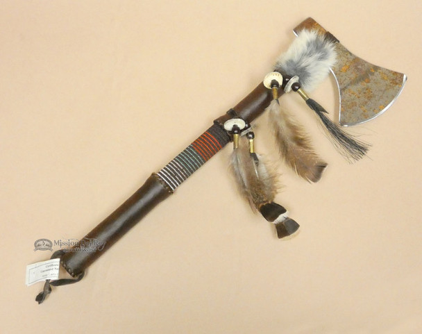 Native American Metal Blade Tomahawk w/ Rawhide Handle