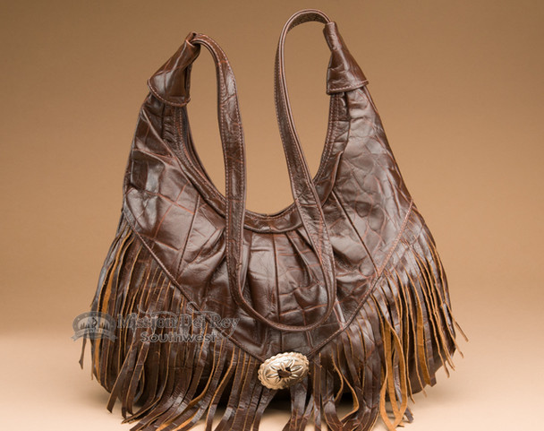 Southwestern Style Fringed Leather Purse.