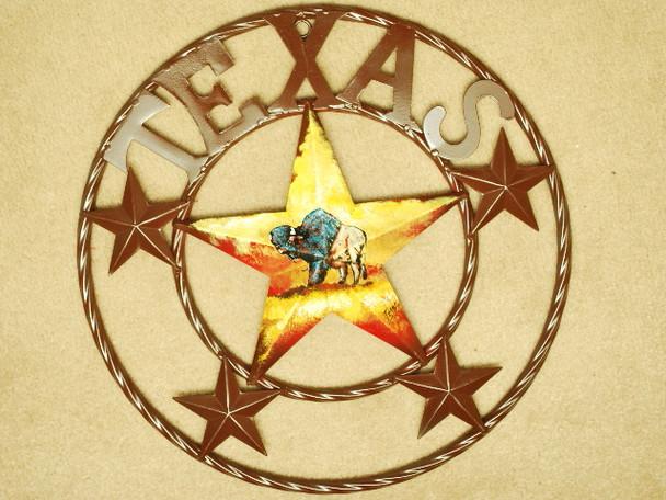 """Rustic Metal Texas Star 16"""" - Buffalo"""