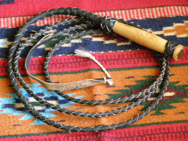 Braided Leather Cowhide Bull Whip - 8'