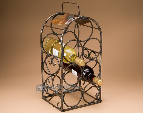 Metal Art Wine Rack - Holds 7 Bottles